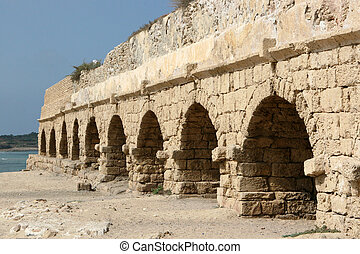 Ancient Roman Aqueduct, Israel - The ruins of this ancient...