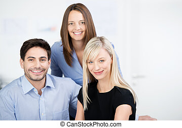 Portrait of three business colleagues - Portrait of three...