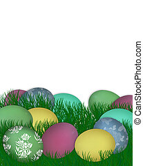 Easter Border Eggs in Grass