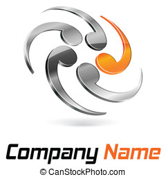 Logo 3d abstract chrome and orange
