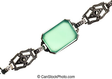 vintage green stone bracelet isolated on white
