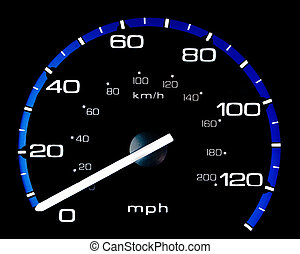 Vehicle Speedometer - Speedometer of a vehicle Isolated on a...