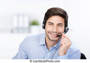 Businessman with headphone - Happy businessman with...