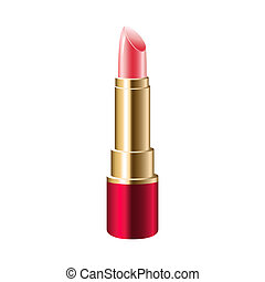 Realistic pink lipstick isolated on white background Vector