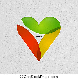 Colorful paper heart modern template - Colorful paper heart...