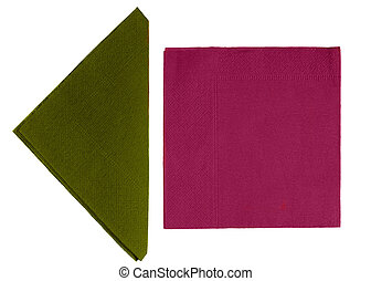 Paper napkins, serviettes isolated - olive green and...