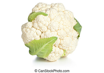 Cauliflower on white background Studio macro shot