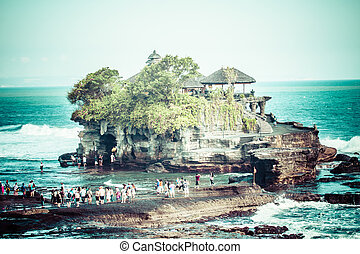 World famous Pura Tanah Lot - or Temple of the Land in the...