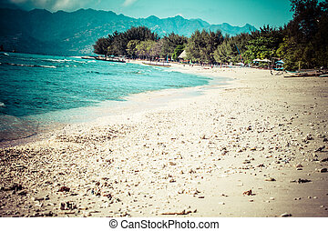 Beautiful sea and coastlines of Gili Trawangan, Indonesia.