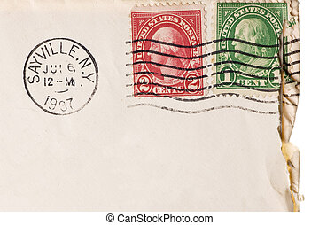 Vintage yellowed envelope with postmark stamp