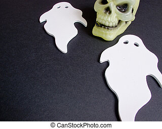 Ghostly spirits and scary skull - An image showing the...