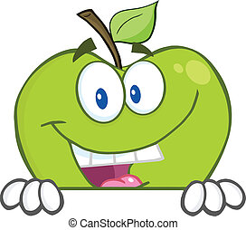 Apple Hiding Behind A Blank Sign - Smiling Green Apple...