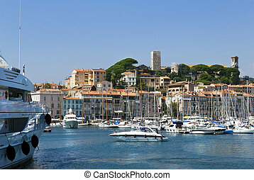 Harbour and marina at Cannes, French Riviera, France