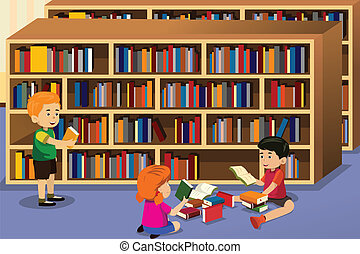 Kids reading a book - A vector illustration of kids reading...