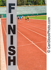 Finish sign - A finish sign in athletic stadium