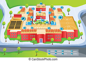 Map of school - A vector illustration of map of school