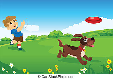 A boy playing with his dog - A vector illustration of...