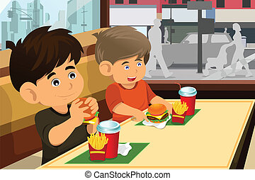 Kids eating hamburger and fries - A vector illustration of...