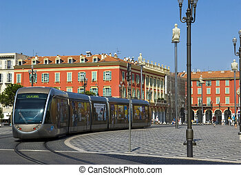 Modern tram in the center of Nice, France - NICE, FRANCE -...