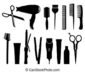 hairdresser - vector silhouettes of devices for hair salon...