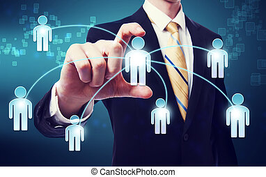 Social Networking Concept - Business Man with social network...
