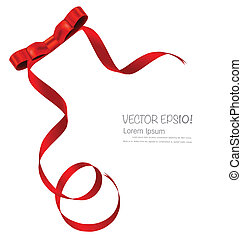 Shiny red ribbon on white background with copy space Vector...