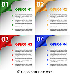 Options of colorful bent corners background vector eps 10