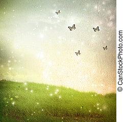 Butterflies in a fantasy landscape - vintage paper style