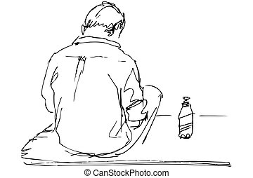 fellow sits on a table with the bottle of beer - sketch a...