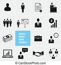 Business Management and Human Resources Vector Icons Set