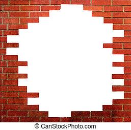 perfetto, parete, mattone, cornice