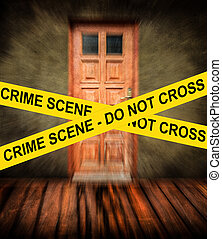 CRIME SCENE yellow tape against grunge room