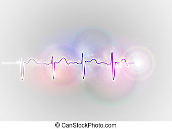 heartbeat symbol - medical symbol on the shine abstract...