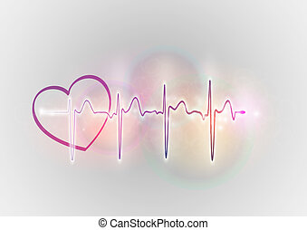 heart - cardiogram with the heart on the background