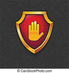 hand_sh - Shield with palm. Vector eps10