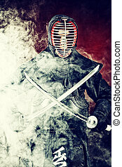 smoke red - Handsome young man practicing kendo. Over dark...