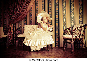 fancy dress - Portrait of a charming little lady in a...