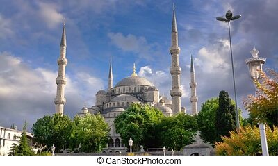 Blue Mosque in Istanbul, Turkey - Timelapse, Spring Clouds...