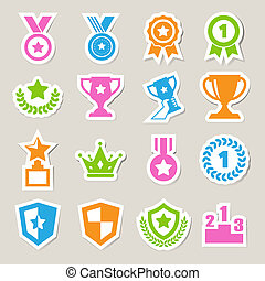 trophée, récompenses, icônes, ensemble