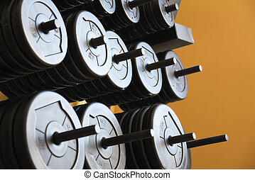 Stacked barbells with weights