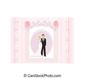 wedding invitation card with a cute couple