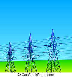 Electrical lines and pylons with blue sky Vector...
