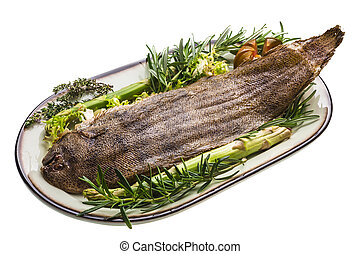 Fish Dover sole roasted