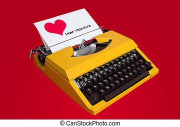 valentine letter - typewriter with dear valentine note being...