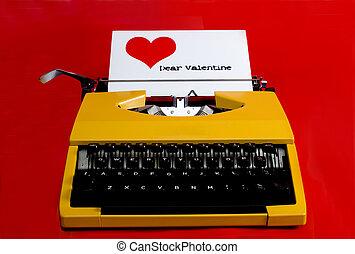 valentine letter - typewriter with dear valentine note being...