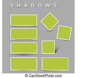 Set of vector shadow effects - white cards with realistic...
