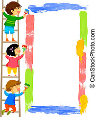 kids painting frame - kids standing on a ladder and painting...