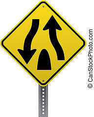 Divided highway sign - Divided highway traffic warning sign...