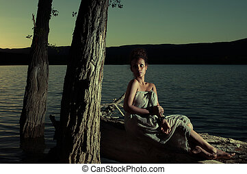 Atmospheric portrait of a woman at night - Atmospheric...