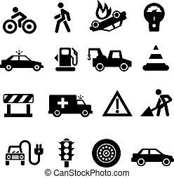 Traffic icons black on white background